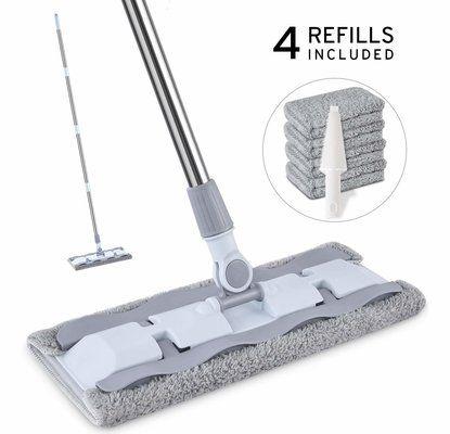 Flat Floor Mop, HOMTOYOU Mirofibre Dust Mop